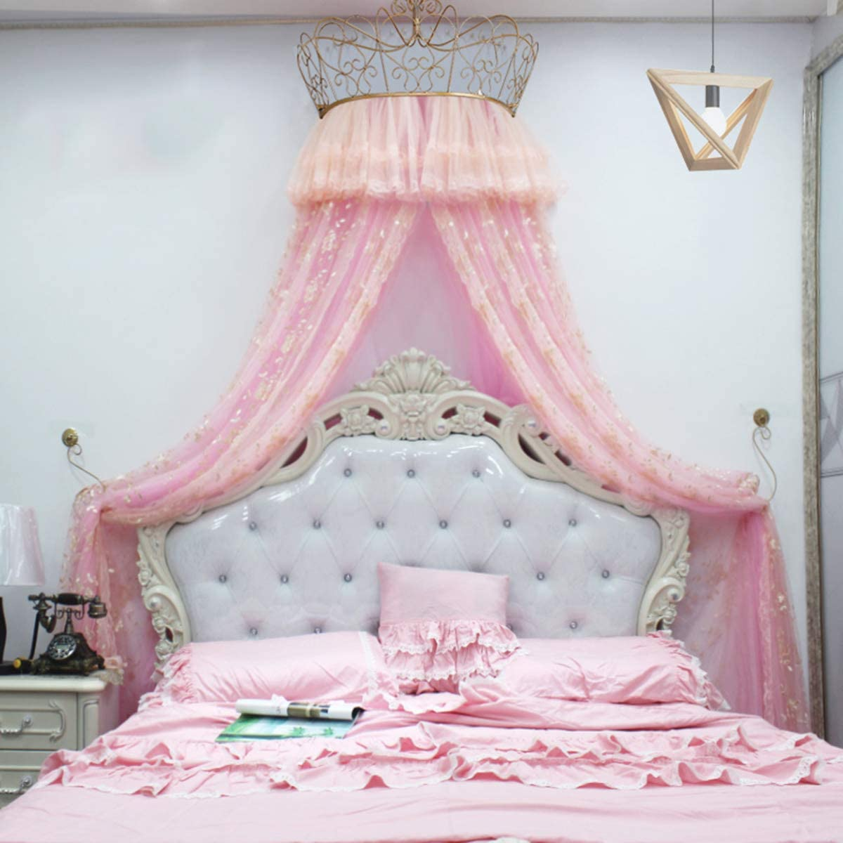 Ainy Bed Canopy Queen with Crown Rack Round Lace Canopies Mosquito Net for Girls Kids Princess Style Household Bedroom Decorations for 1.5M 1.8M Bed Double,Pink,2.0m(6.6ft) Bed