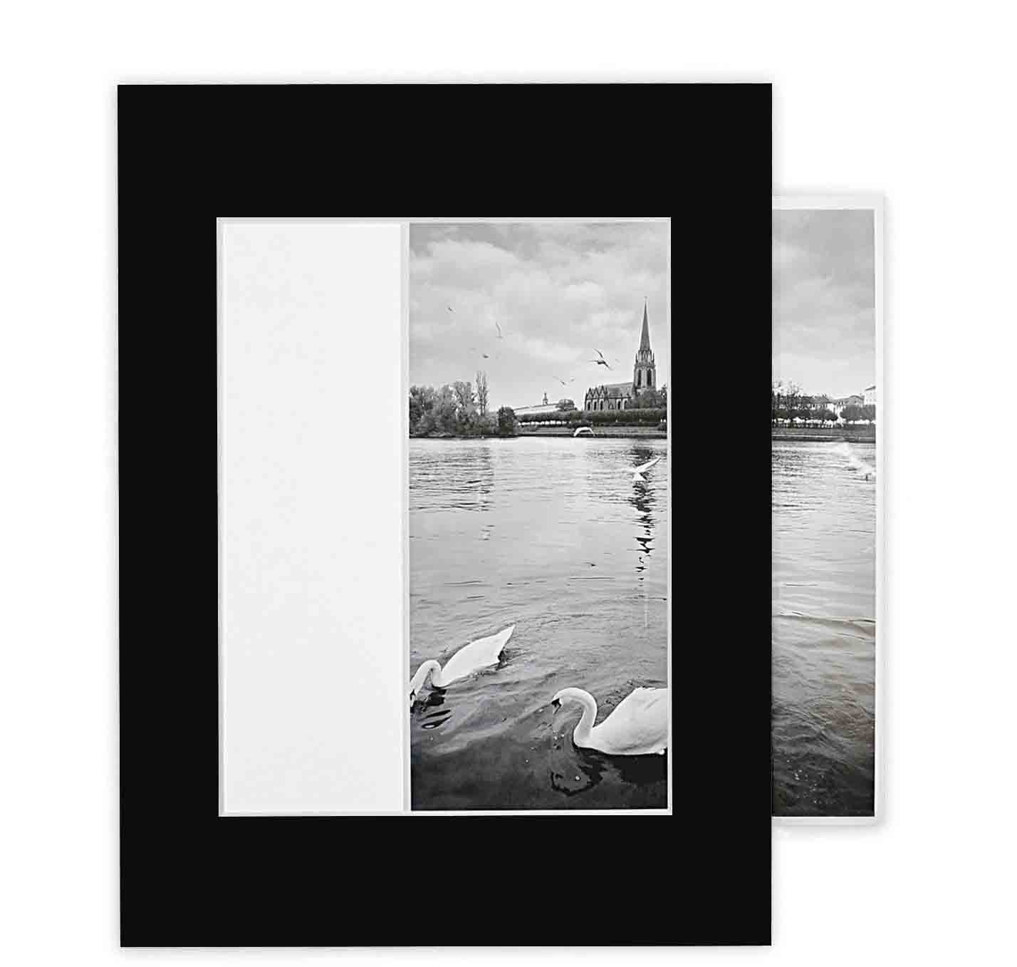 Golden State Art, Pack of 10 Black 11x14 Self-assemble Photo Mat for 8x10 picture with backing board pre-gummed, Includes 10 clear bags A142-SA-10Kit-1114-810