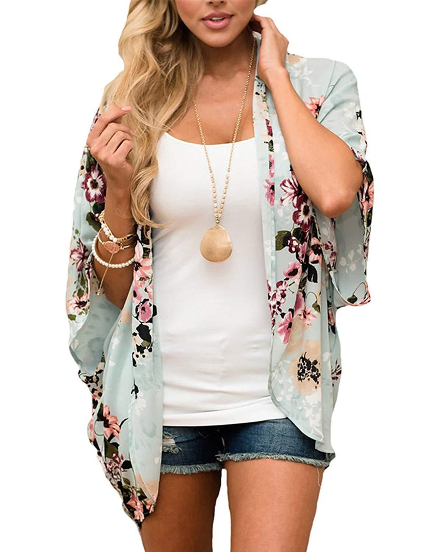 BB&KK Summer Chiffon Cardigan Kimonos for Women Boho-Chic Style Open Front Cover Ups Floral Kimono Jacket Wraps Tops Capes Shawl Plus Size Kimono (Green 4XL)