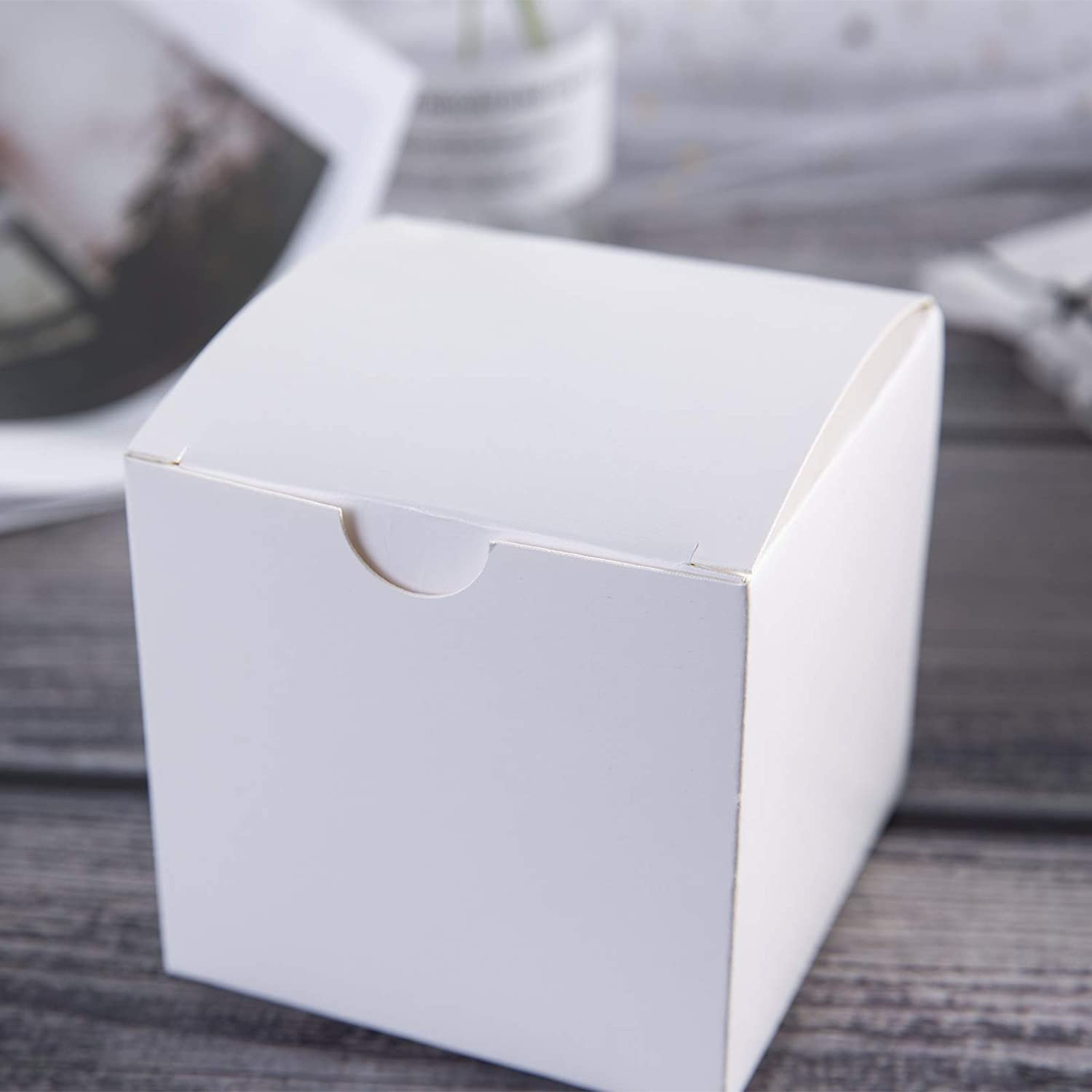 White Kraft Gift Boxes 3X3x3 Inches,White Paper Favor Boxes with Lids for Gifts,Craft Cupcake Boxes 100 of Pack 100pcs