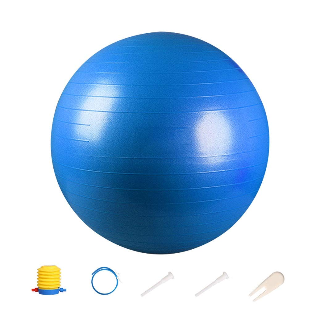 Exercise Ball,Anti-Slip & Anti-Burst for Safety. Ideal for Yoga, Pilates Or Birthing Therapy Gym Ball Core Training and Physical Therapy, Improves Balance (Color : Blue, Size : 55cm)