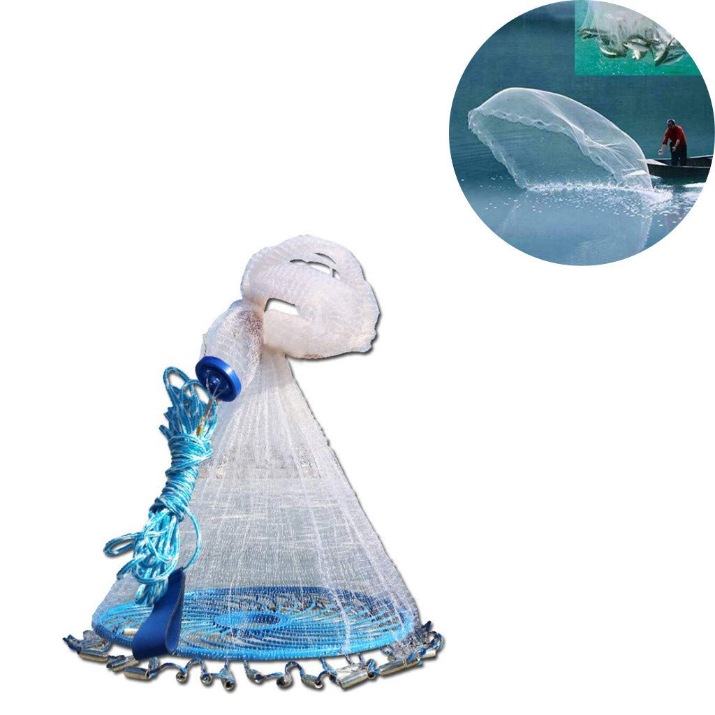 Barthylomo Saltwater Fishing Net Heavy Duty Cast Net with Bucket for Bait Trap Fish Aluminum Ring Monofilament