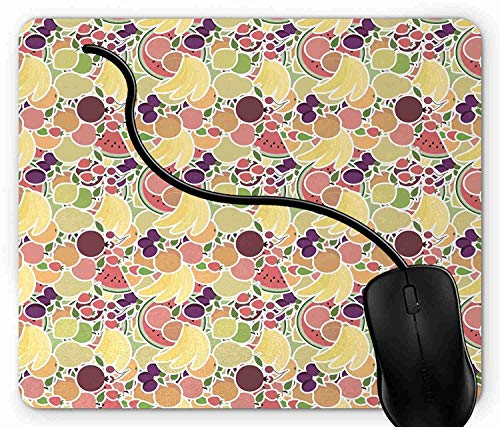 Mouse Pad Grocery Themed Fruit with Bananas Strawberries Plums and Pomegranates Mouse Mat for Computer Laptops, Customized Mouse Pad for Office 7X8inch 1X195 ()