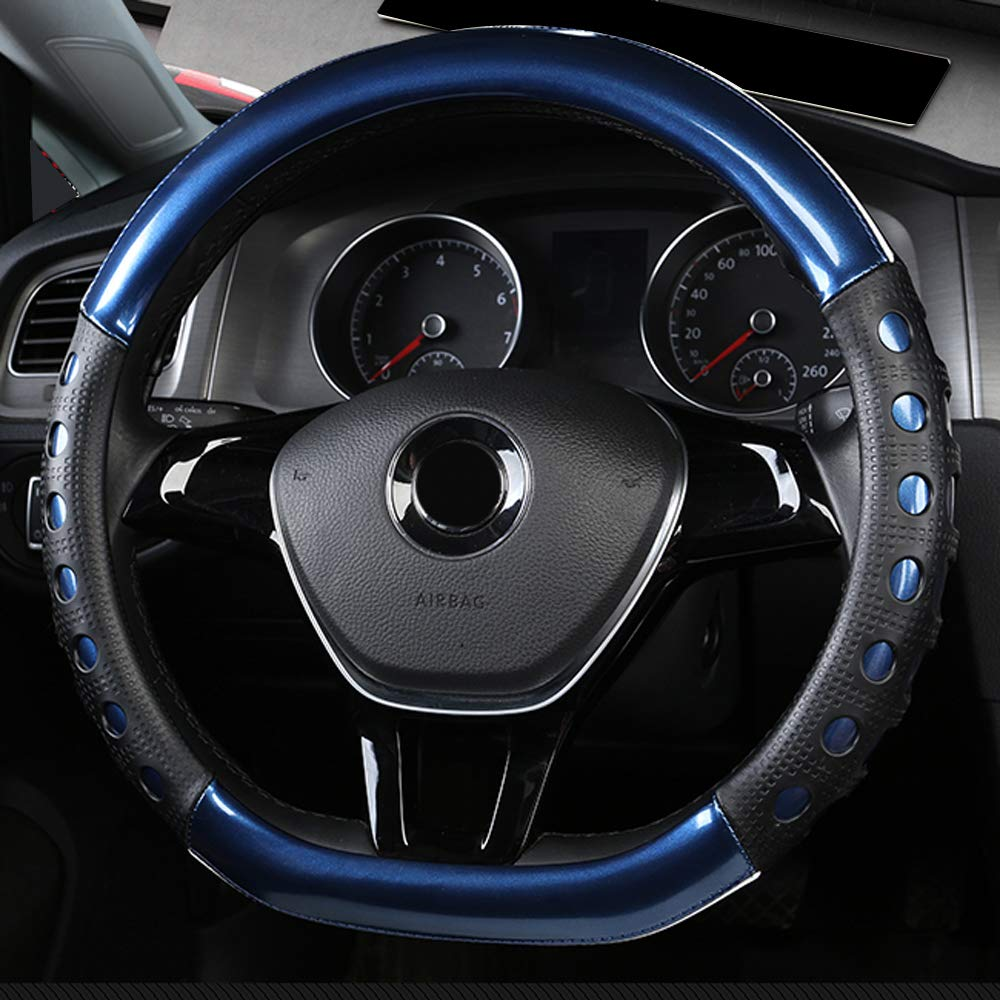 Universal Fit D-Type Car Steering Wheel Cover 37-38CM//15 Anti Slip Laser Brushed Leather Breathable Protector Car Accessory Heavy Duty Year Round Use for Truck SUV Van,Purple