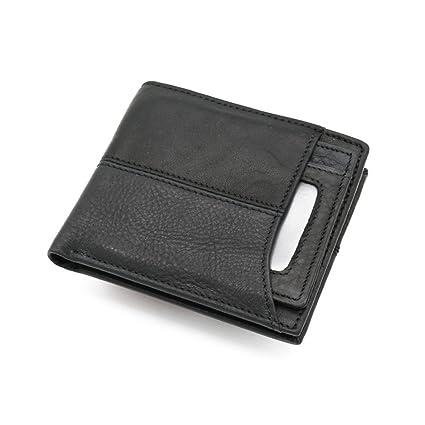 Asdflina Mens Slim Front Pocket Wallet ID Window Kartenetui Lederhandtasche Zero Wallet Card Package pequeñas portátiles