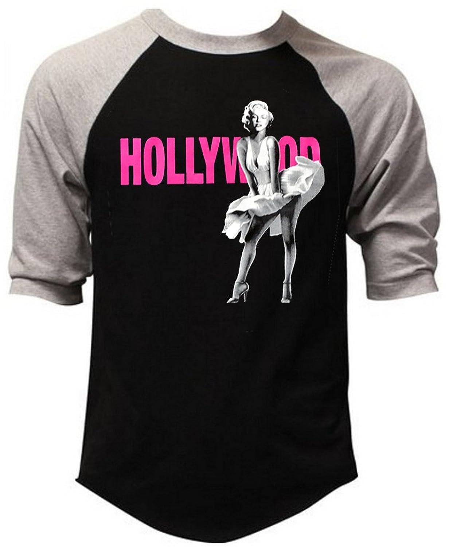 Classic Pink Hollywood Marilyn Monroe Dress Men's Black/Gray Raglan Baseball T-Shirt Black/Gray
