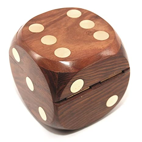 Amazon Com Decorative Dice Shape Wooden Dice Box And With Hand