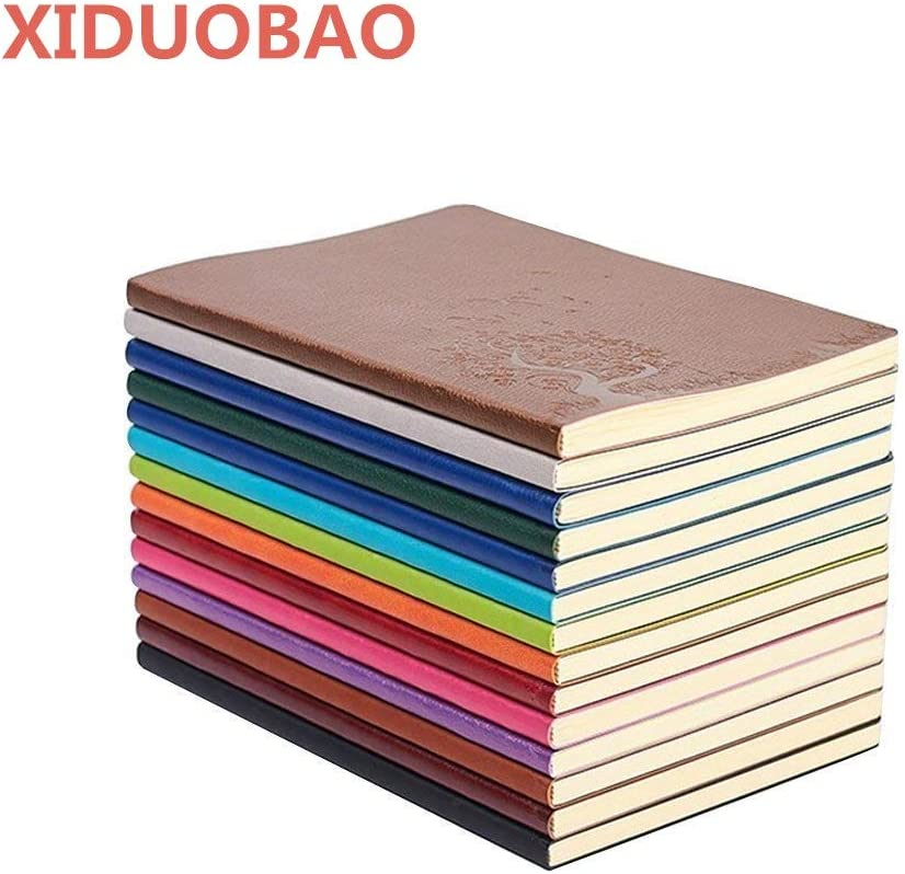 XIDUOBAO Writing Journal Notebook, PU Leather Colorful Journals, Daily Notepad Diary Cute Journal Travel Notebooks Wide Ruled for Students, A5 Size, 64 Sheets/128 Pages, Pack of 4, Random Colors
