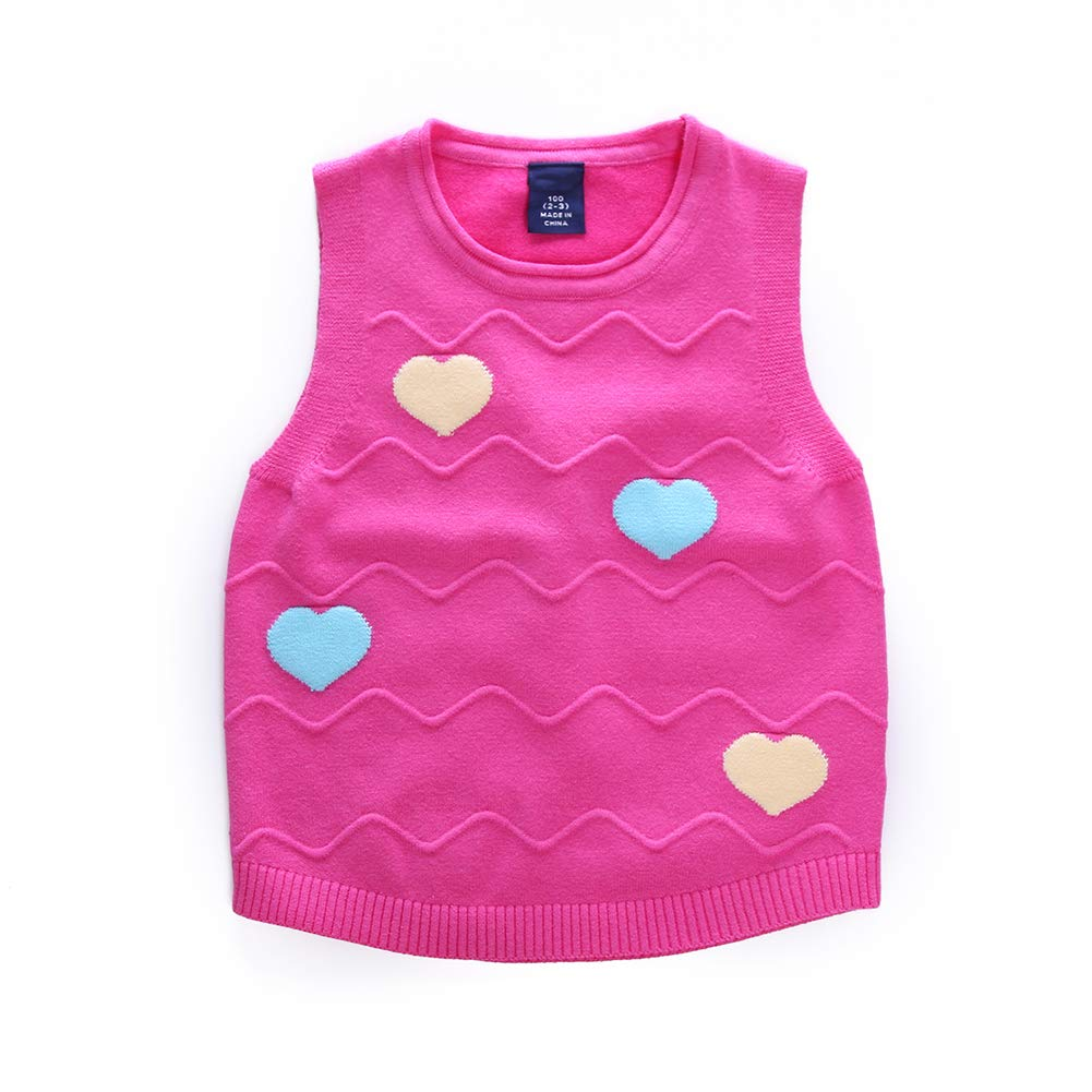 Motteecity Girls Warm Vest School Style Heart Embroidered Woolen All Matches Pullovers Red 7T
