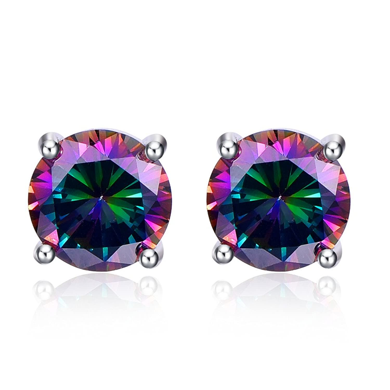 Bonlavie Women's 12.8ct Round Cut Created Rainbow Mystic Topaz 925 Sterling Silver Stud Earrings Jewelry (Rainbow) qBUq8MwjW