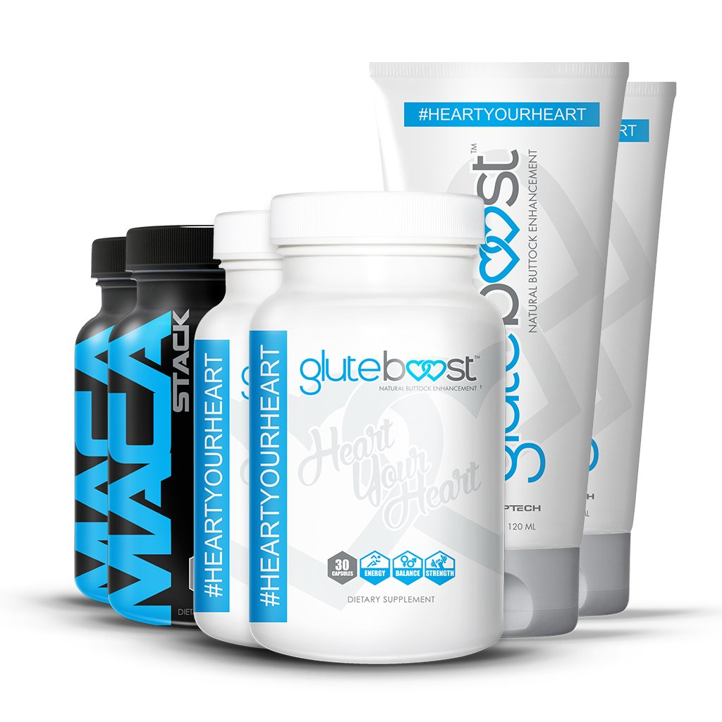 Gluteboost Butt Enhancement Booty Boost Kit - 100% all natural supplements | Starter kit of all 3 Gluteboost products for a bigger butt and hips fast. (2)…