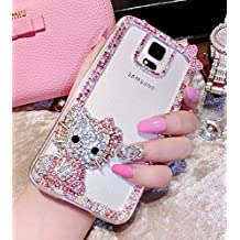 Crystal_phonecase Cute 3D Cartoon Figure Handmade Jewelled Pearl Crystals Diamond Clear Case Cover for Samsung Galaxy S4 S5 S6 S6Edge S7 S7Edge S8 S8Plus (Pink cat, Samsung Galaxy S9)