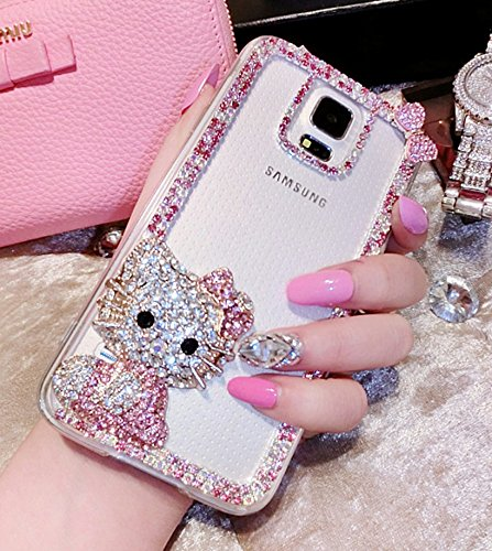 - crystal_phonecase Cute 3D Cartoon Figure Handmade Jewelled Pearl Crystals Diamond Clear Case Cover for Samsung Galaxy Note 2345 Note8 S6 Edge Plus (Pink cat, Samsung Galaxy Note 8)