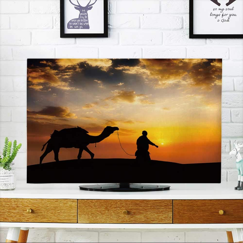 PRUNUS TV dust Cover Rajasthan Travel Background Indian cameleer (Camel Driver) with Camel Silhouette TV dust Cover W19 x H30 INCH/TV 32''