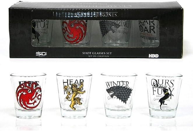 Todo para el streamer: Juego de Tronos - Set de 4 Vasos chupito (SD Toys SDTHBO02075) Game of Thrones Set 4 Vasos Chupito, 22.5 x 6.5 x 6.5 cm, 4 Unidades