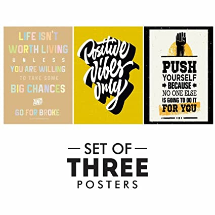inspirational posters for office. Motivational Posters For Office And Study Room - Set Of 3 Inspirational Wall Quotes | Size H