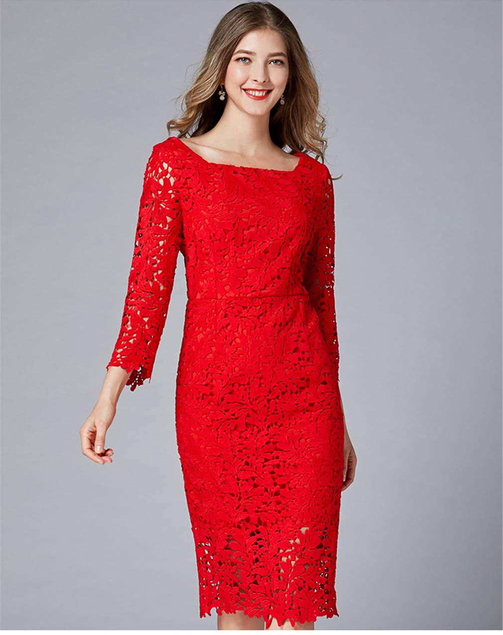 3XL Dress Women red Sexy Lace Party Cocktail Knee Length Girl Bridesmaid Clothing (L5XL)
