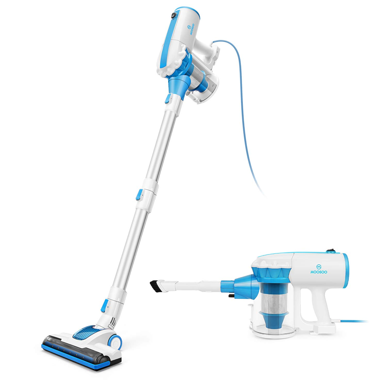 MOOSOO Vacuum Cleaner Corded Stick Vacuum with 2Pcs HEPA 17Kpa Powerful Suction 2 in 1 Handheld Vacuum for Hardwood Floor D601