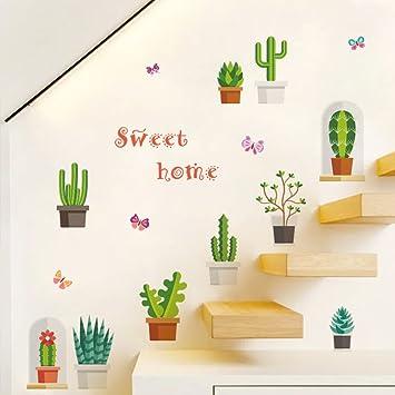 Decalmile Wandtattoo Grune Kaktus Pflanzen Wandsticker Entfernbarer