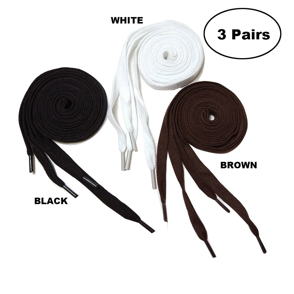 3 Pair Pack cotton flat shoelaces 47'' length for sneaker canvas casual shoe brown white black 5/16'' width (47inch/120cm, black/white/brown)