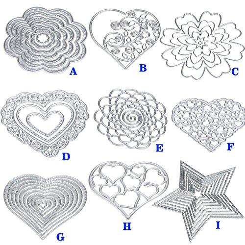 Cutting Dies Cut Metal Scrapbooking Love Heart Square Flower Star Sunflower Stencils Nesting Die for DIY Embossing Photo Album Decorative DIY Paper Cards Making Craft 9set (Set 5) by Eswala (Image #2)