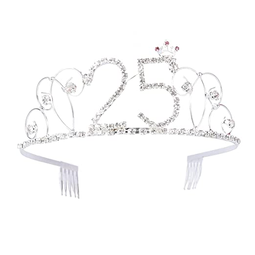 Lurrose Feliz cumpleaños 25 Corona cristalina de la Tiara ...