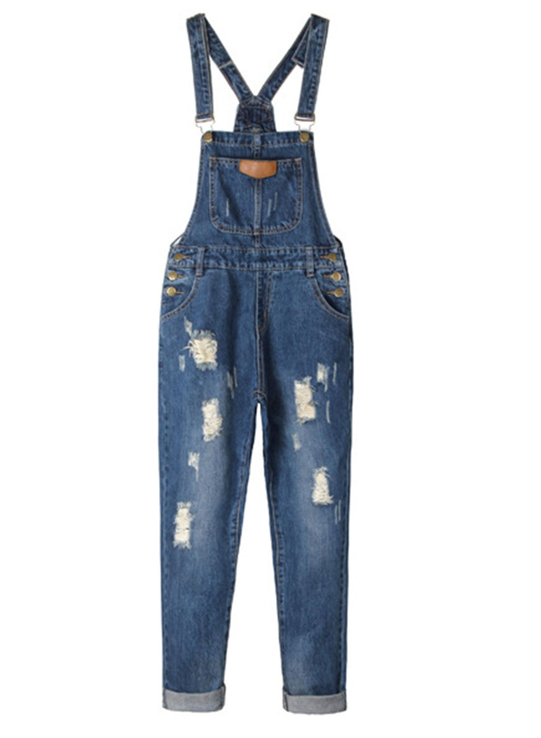 LEO BON Overalls for Women Loose Denim Jeans Rompers Jumpsuits Sleeveless Plus Size Overalls