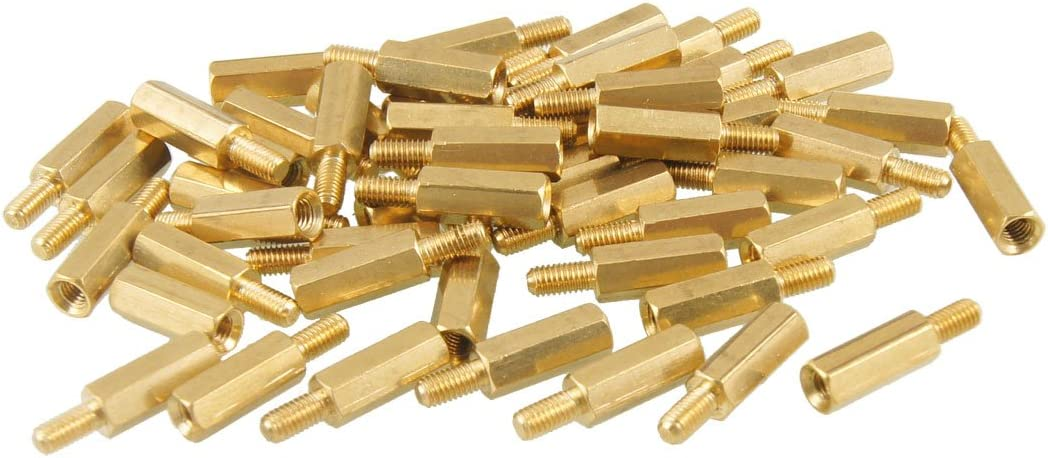Aexit 50 Pcs Tube Fittings Brass Screw Hexagonal Stand-Off Spacer M3 Male to Microbore Tubing Connectors Female 12mm