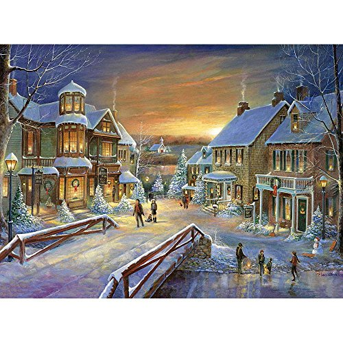 Bits and Pieces - 300 Large Piece Foil Jigsaw Puzzle for Adults - Holiday Village - 300 pc Christmas, Winter Jigsaw by Artist Ruane Manning