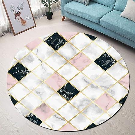 LB Marbre Tapis Rond Blanc Rose Noir Gris Moquette Intérieur Absorbant  Souple Carpette pour Salon Chambre Vestiaire Salle de Bains Tapis de Chien  ...