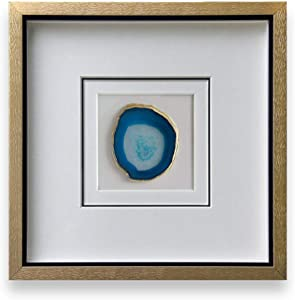 Modern 16x16 Inch Natural Agate Framed Wall Art 4 Inch Gold Edge Geode Stone Artwork with Glass for Living Room Bedroom Home Decor,Blue