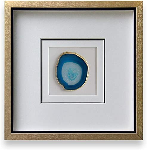 Modern 16×16 Inch Natural Agate Framed Wall Art 4 Inch Gold Edge Geode Stone Artwork