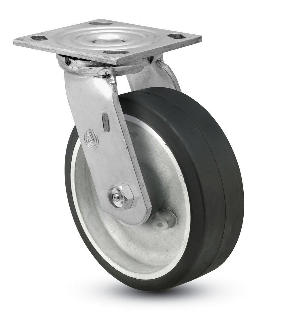 Jarvis 81 Series 8'' Diameter Moldon Rubber with Aluminum Core Wheel Swivel Plate Caster with Roller Bearing, 4-1/2'' Length X 4'' Width Plate, 500 lbs Capacity