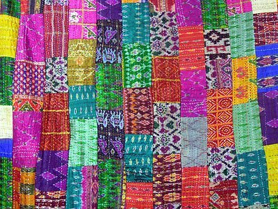 Sovereigns Cotton Handmade Patola Silk Reversible Bedspread (Multicolour, 60x90-inch)
