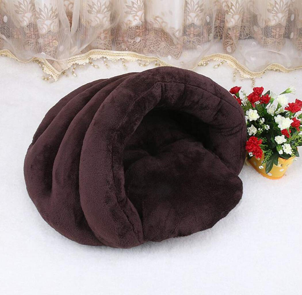 BROWN S BROWN S Soft Warm Dog House Pet Bed Sleeping Bag Cat Nest Mat Pad Cushion Pets Cave Kennel Gift (color   Brown, Size   S)