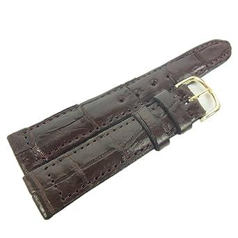 80faa51778be (ノーブランド品) リアル クロコダイル レザー 20mm ワニ革 腕時計 ベルト ブラウン 27851NaM
