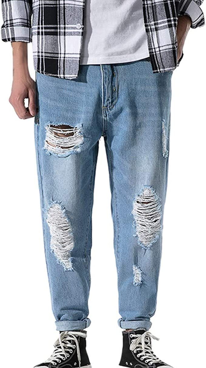 Geilisungren Vaqueros Para Hombre Jeans Pantalones De Mezclilla Casual Agujero Para Hombre 9 Tamanos No Importa Que Tan Gordo O Delgado Puedas Usar Amazon Es Ropa Y Accesorios