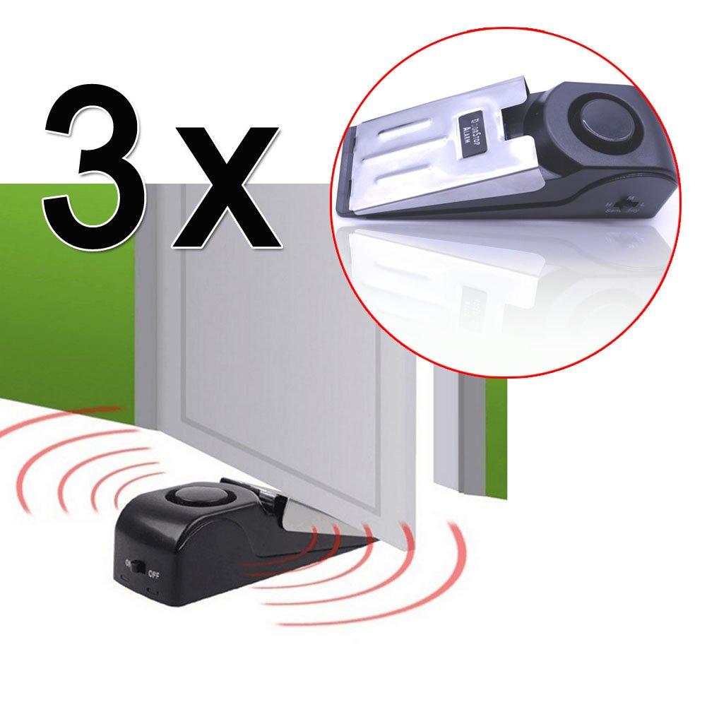 EMOTREE 3 x Türalarm Türstopper Haus Doorstopper Haustüralarm Türsichrung 120dB Alarmanlage Haustür Haussicherung