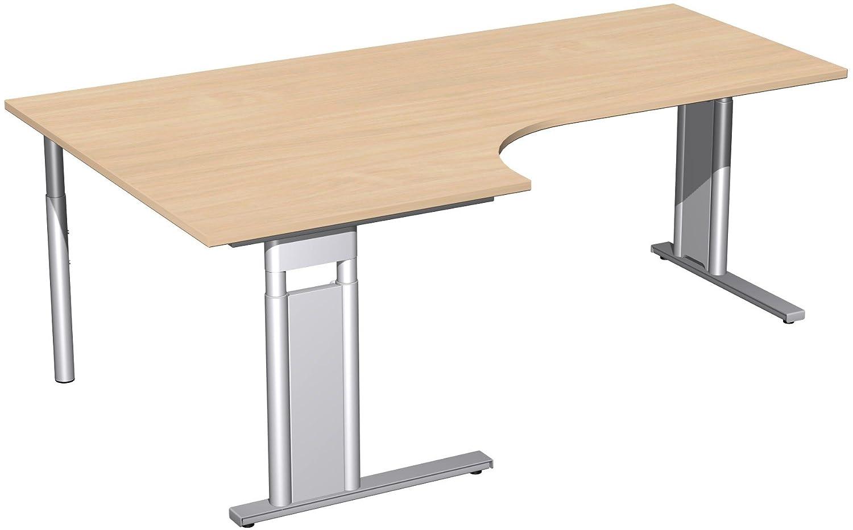 Geramöbel PC-Schreibtisch links höhenverstellbar, C Fuß Blende optional, 2000x1200x680-820, Buche/Silber
