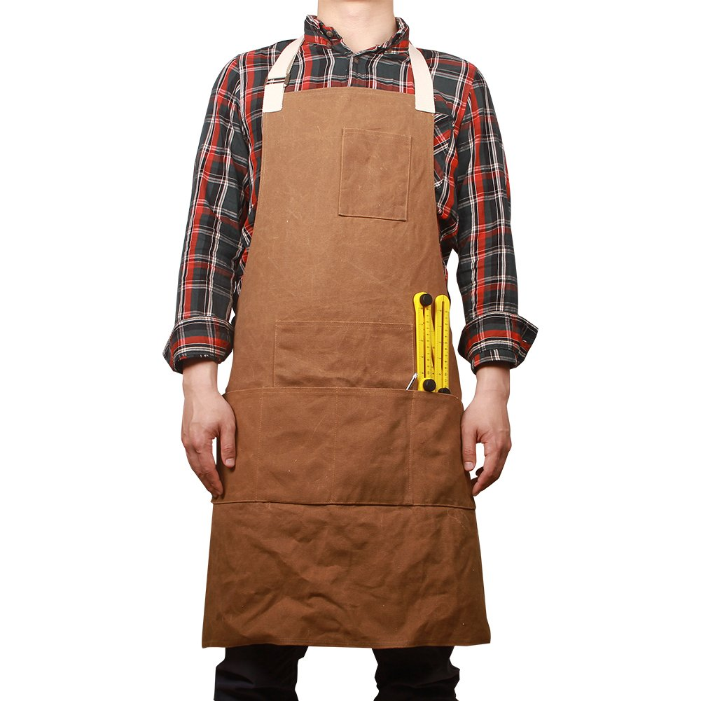 Waxed Canvas Heavy Duty Workshop Apron Utility Tool Aprons Multi-function Waterproof Bib Apron with 6 Pockets In Front Best Christmas Gift For Dad Husband Boyfriend or Friend HSW-063