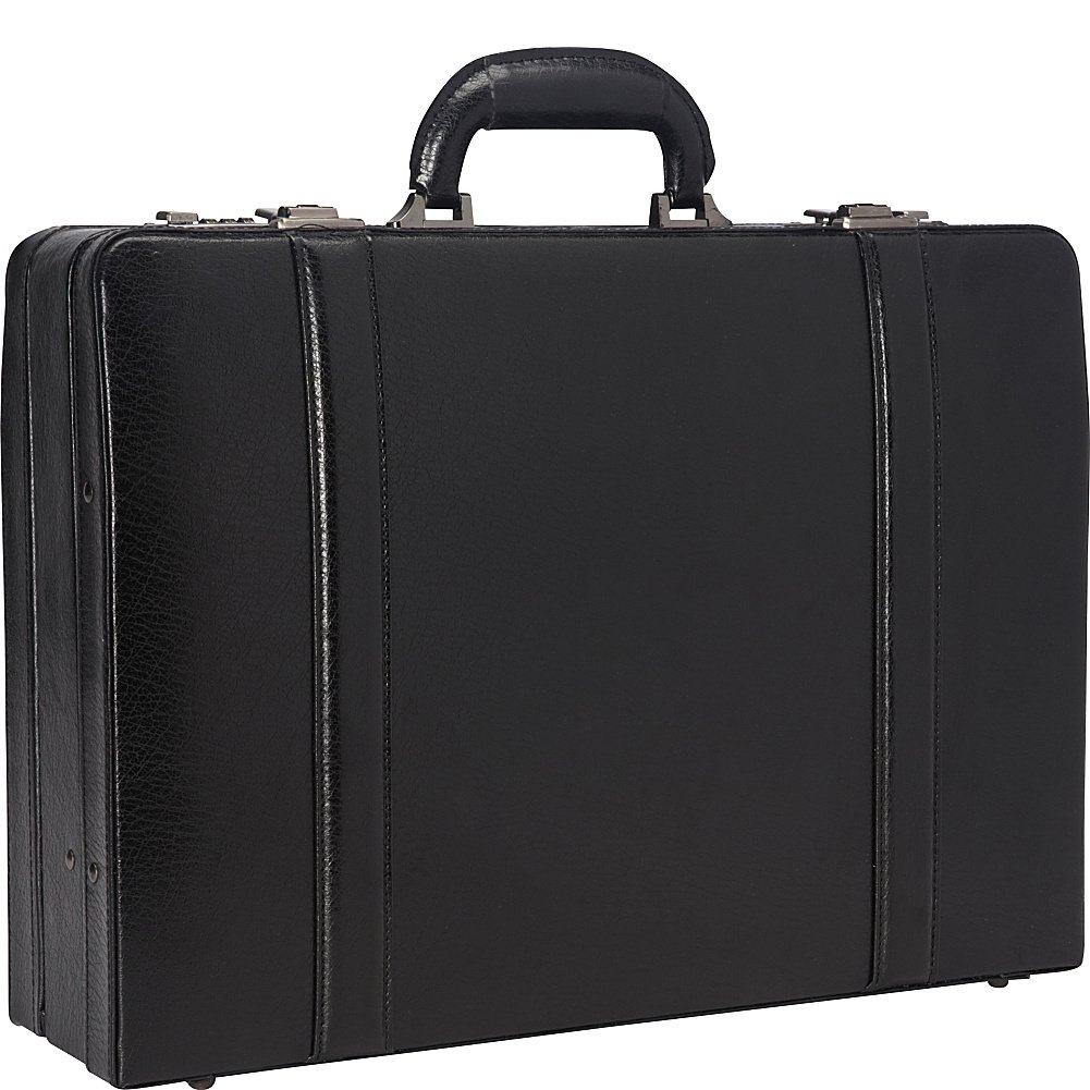 Mancini 4'' Leather Expandable Attache Case - Black