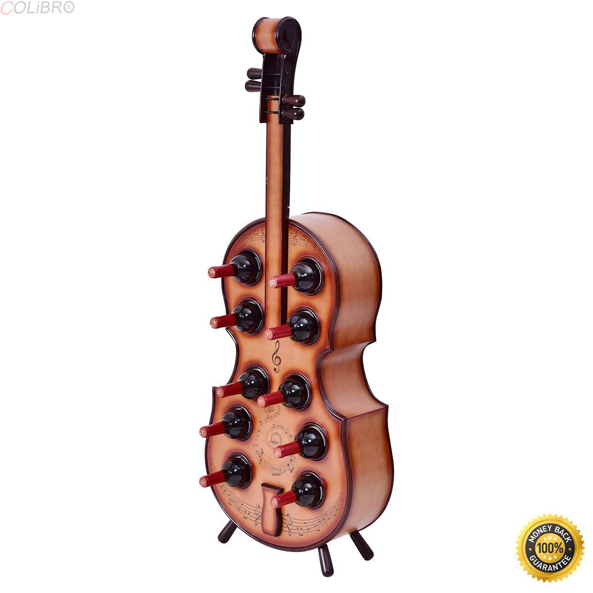 COLIBROX--10 Bottles Wood Wine Rack Violin Cello Bottle Holder 16th Century Liquor Shelf,cheap wine rack,new and Artistic wine rack,Wine Rack Wood Storage