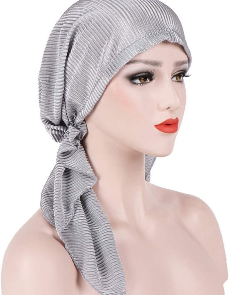 S-TROUBLE Mujeres Bohemia pre-Atado Turbante Sombrero Trenzado Trenzado Cubierta de Pelo Abrigo musulm/án Hijab gradiente Tie-Dye impresi/ón p/érdida de Cabello c/áncer quimioterapia