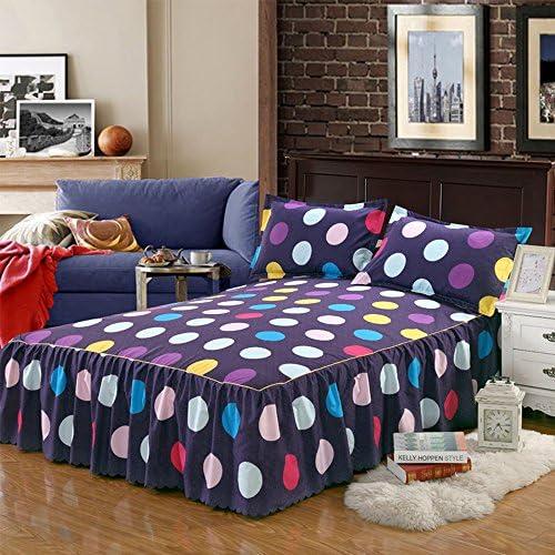 yunhigh Striped Fitted飾り布シート&ベッド2枕カバー、用フリル付きクイーンサイズベッドスカートコットンフリルゴムベッドスプレッド Yunhigh-123