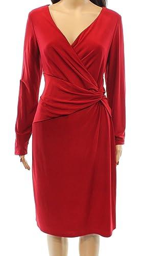 Lauren Ralph Lauren Women's Front Knot Sheath Dress Red 0