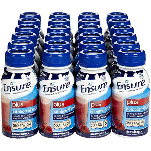 Ensure Plus Strawberry 8 Ounce Bottle, Ready to Use - Case of 24 by Ensure