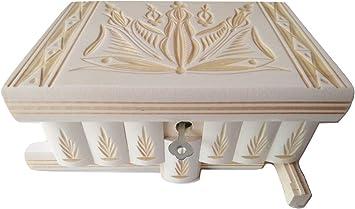 Preciosa caja mágica de madera tallada; caja rompecabezas, con ...