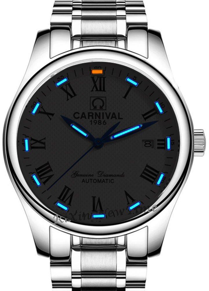 Gosasa Mens Business Tritium Luminous Military Watch Automatic Mechanical Sapphire Roman Numerals Steel Bracelet Watches