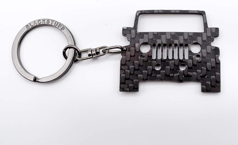BlackStuff Carbon Fiber Keychain Keyring Ring Holder Compatible with Wrangler JK 2006-2018 BS-621