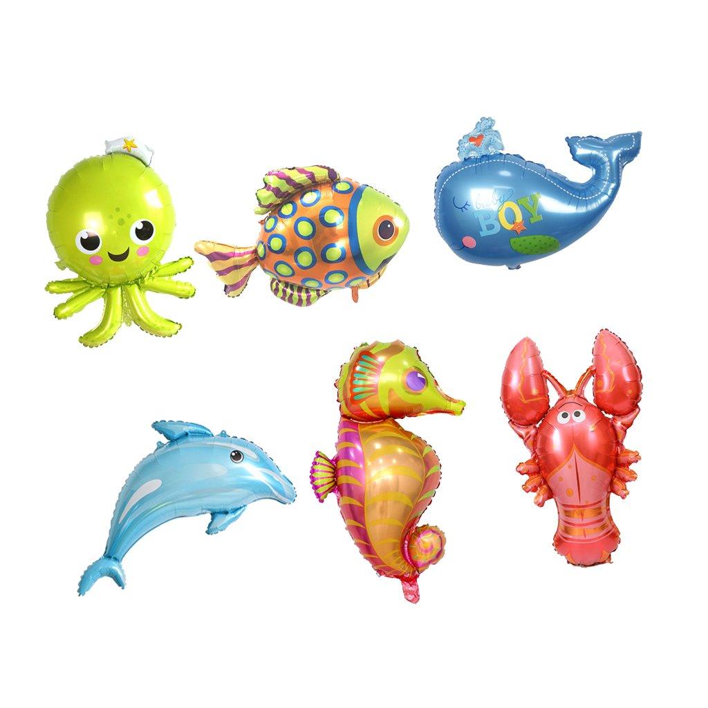 perfeclan 6 Unidades De Animales De Mar Hoja De Tema Helio Globos Niños Juguete Decoración De La Fiesta De Cumpleaños